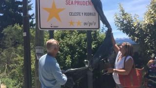 Defensora participó de la instalación de una estrella amarilla por Celeste y Rodrigo