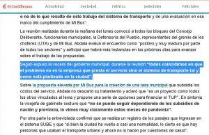 Declaraciones en medios de comunicación (Diario El Cordillerano)