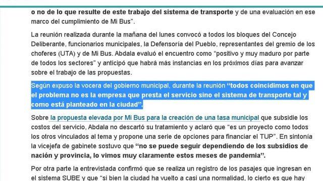 Aclaración por declaraciones del Ejecutivo municipal sobre convocatoria por el Transporte Urbano de Pasajeros