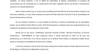 Bariloche   Comunicado del Comité Municipal contra la Tortura ante el impedimento en el ingreso al Penal III para constatar las denuncias recibidas