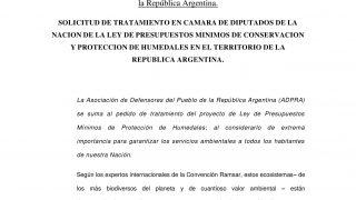 ADPRA solicita el tratamiento en Cámara de Diputados de la ley de presupuestos mínimos de conservación y protección de humedales en el territorio de la República Argentina