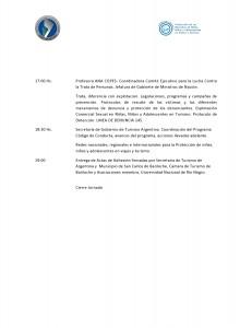 """Programa de la Jornada de """"Protección de los Derechos de Niñas, Niños y adolescentes en Viajes y Turismo"""""""