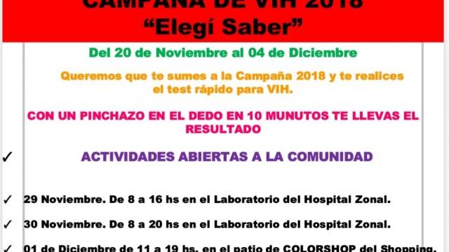 """""""Elegí Saber"""", campaña de lucha contra el VIH 2018"""