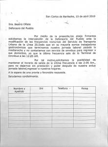 Planilla a disposición en la Defensoría del Pueblo de Bariloche