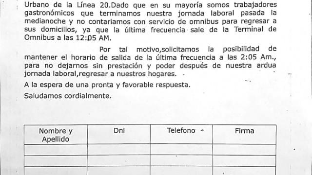 SUMATE Y FIRMÁ | Reúnen firmas para resolver problemática ante modificación de las frecuencias nocturnas del Transporte Urbano de Pasajeros
