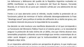 Manifestación de ADPRA en relación a la resolución del Fiscal Rivarola