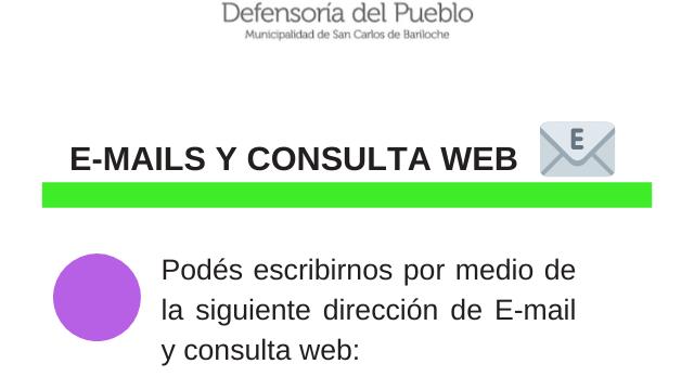 Vías de Comunicación 🗣👥   Cómo comunicarte con la Defensoría del Pueblo de Bariloche durante el período de aislamiento social, preventivo y obligatorio