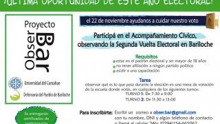 Convocatoria a voluntari@s para observar las elecciones del 22/11